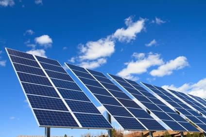 Panneaux solaires arrosés