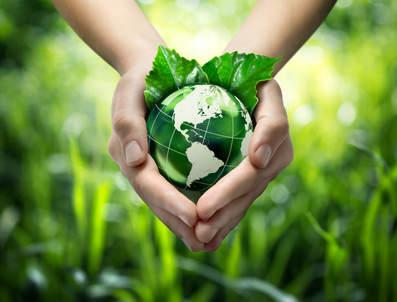 planète verte entre des mains