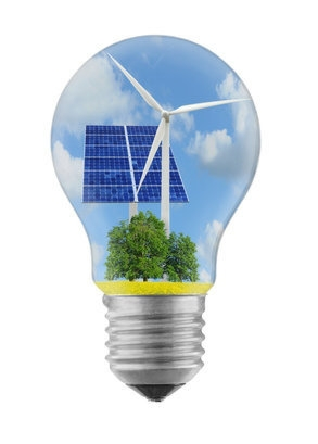 ampoule avec une éolienne et panneaux solaires à l'intérieur