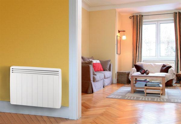 radiateurs électriques à inertie Aterno dans un couloir et un salon