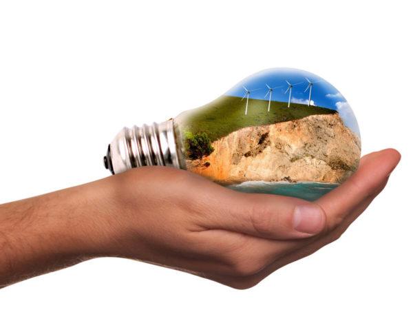 energies renouvelables dans une ampoule tenue dans une main