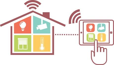Icônes domotiques et maison connectée.